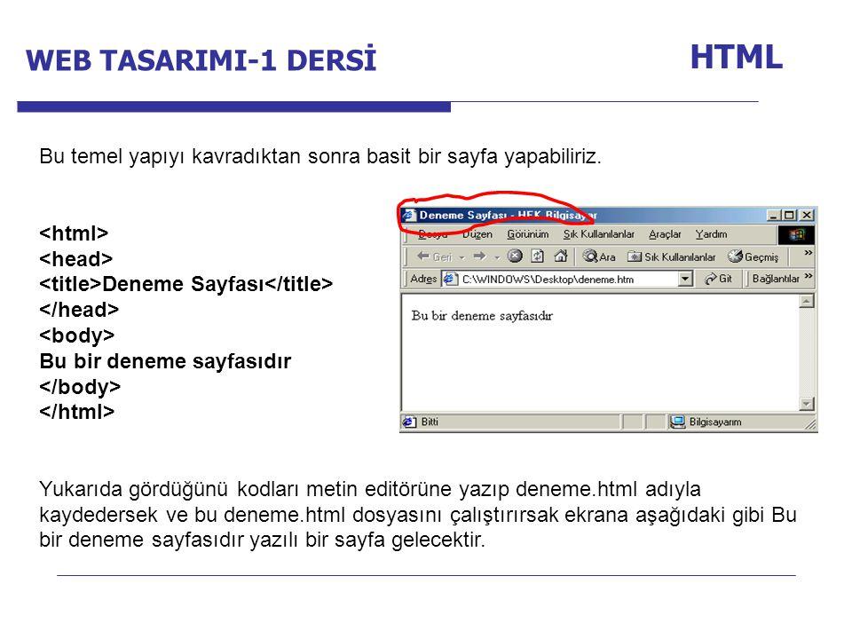 Internet Programcılığı -1 Dersi HTML Bu temel yapıyı kavradıktan sonra basit bir sayfa yapabiliriz. Deneme Sayfası Bu bir deneme sayfasıdır Yukarıda g