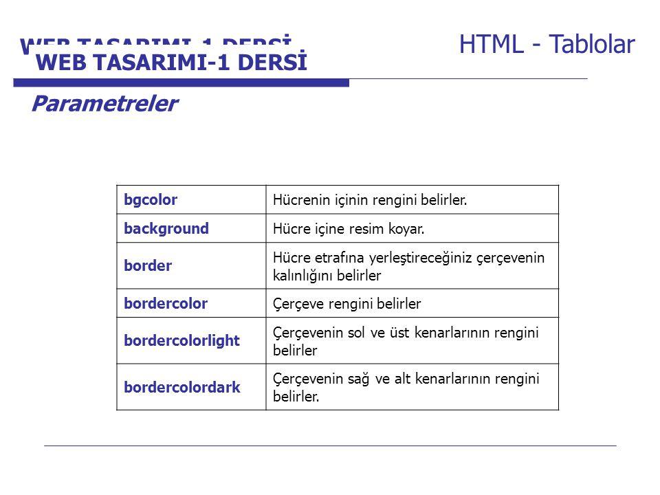 Internet Programcılığı -1 Dersi HTML - Tablolar Parametreler bgcolorHücrenin içinin rengini belirler. backgroundHücre içine resim koyar. border Hücre