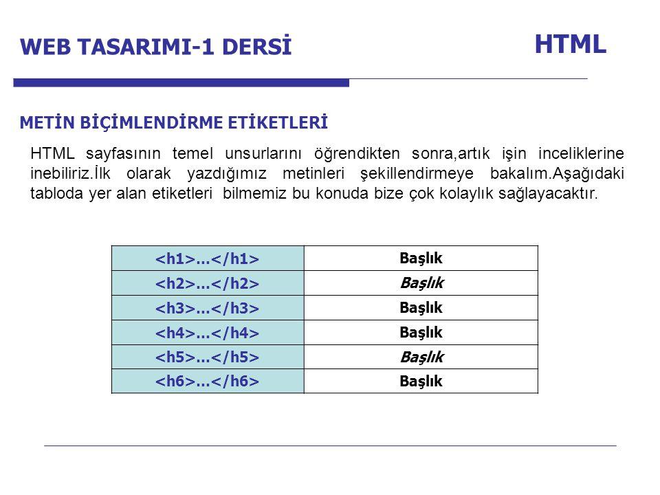 Internet Programcılığı -1 Dersi HTML METİN BİÇİMLENDİRME ETİKETLERİ HTML sayfasının temel unsurlarını öğrendikten sonra,artık işin inceliklerine inebiliriz.İlk olarak yazdığımız metinleri şekillendirmeye bakalım.Aşağıdaki tabloda yer alan etiketleri bilmemiz bu konuda bize çok kolaylık sağlayacaktır.