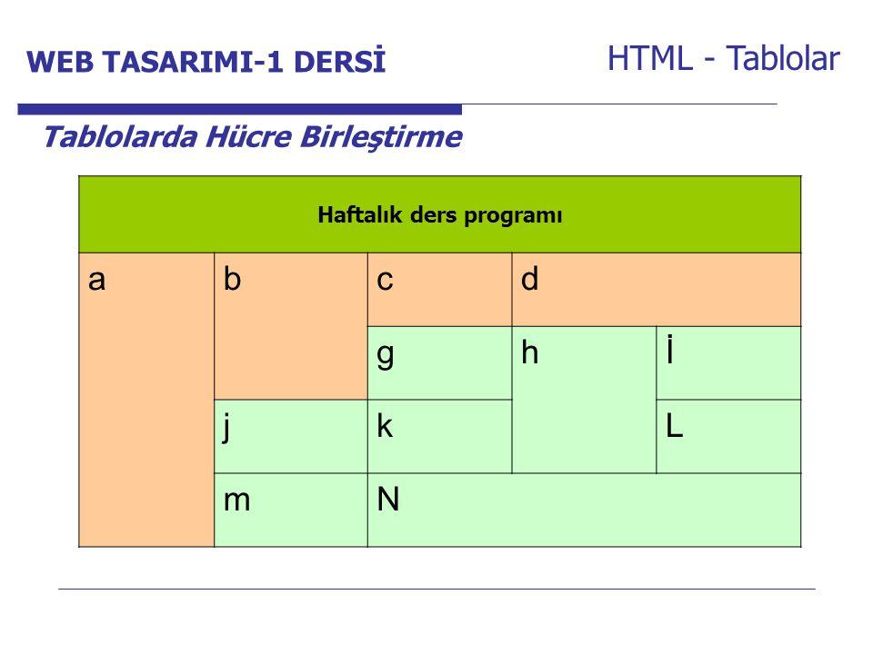 Internet Programcılığı -1 Dersi HTML - Tablolar Tablolarda Hücre Birleştirme Haftalık ders programı abcd ghİ jkL mN WEB TASARIMI-1 DERSİ
