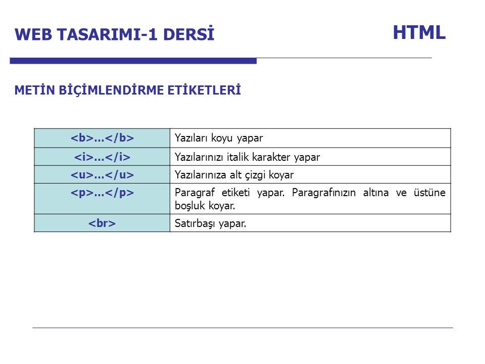 Internet Programcılığı -1 Dersi HTML … Yazıları koyu yapar … Yazılarınızı italik karakter yapar … Yazılarınıza alt çizgi koyar … Paragraf etiketi yapar.