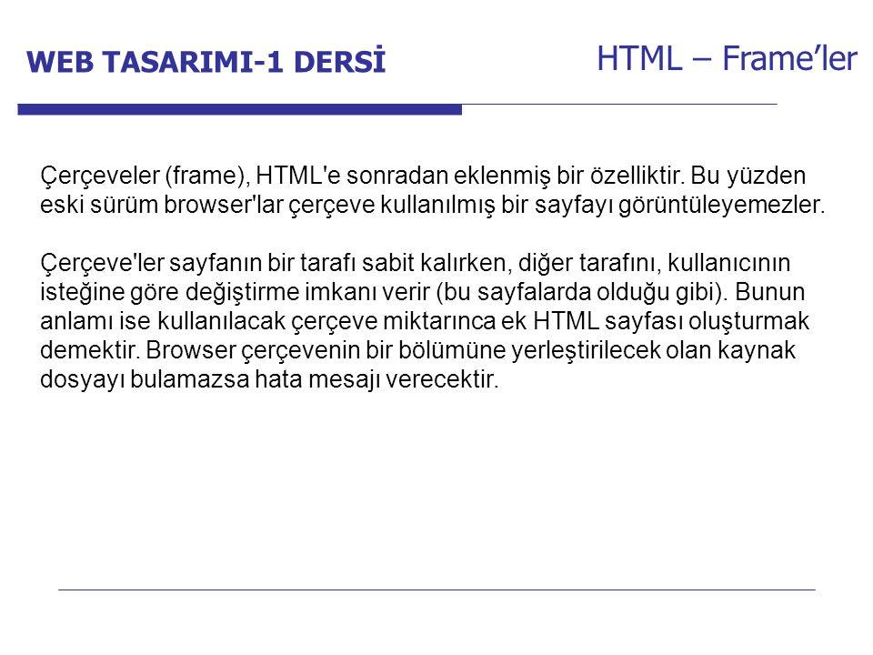 Internet Programcılığı -1 Dersi HTML – Frame'ler Çerçeveler (frame), HTML'e sonradan eklenmiş bir özelliktir. Bu yüzden eski sürüm browser'lar çerçeve