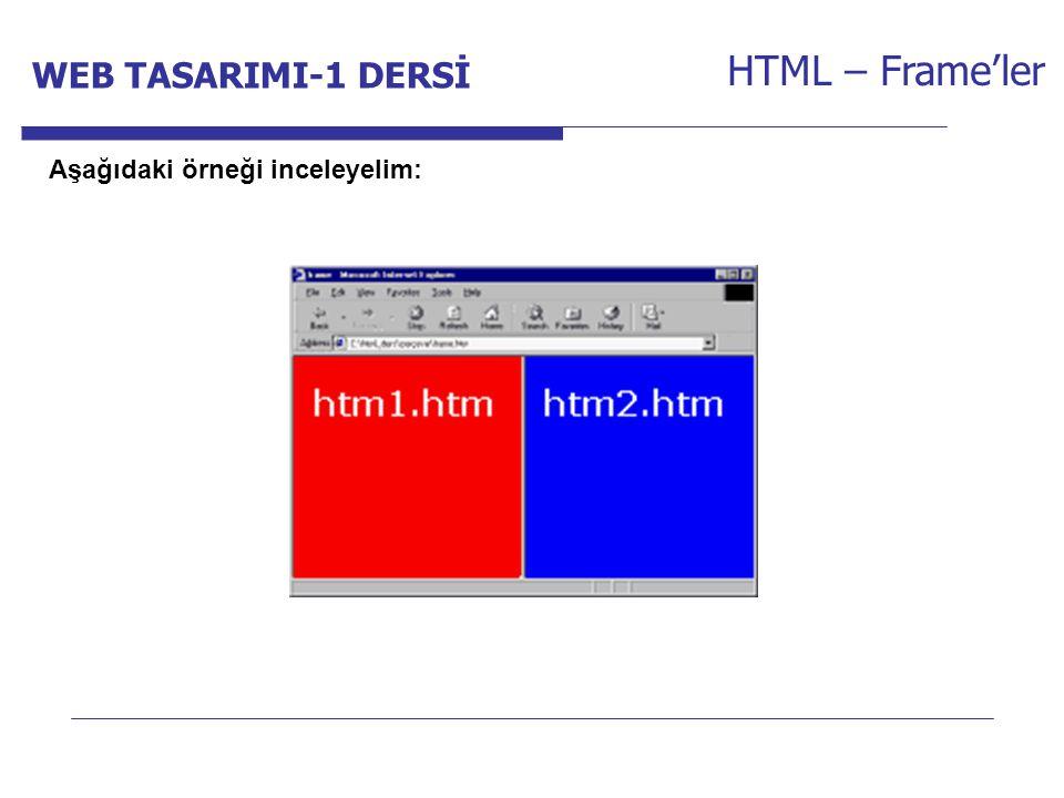 Internet Programcılığı -1 Dersi HTML – Frame'ler Aşağıdaki örneği inceleyelim: WEB TASARIMI-1 DERSİ