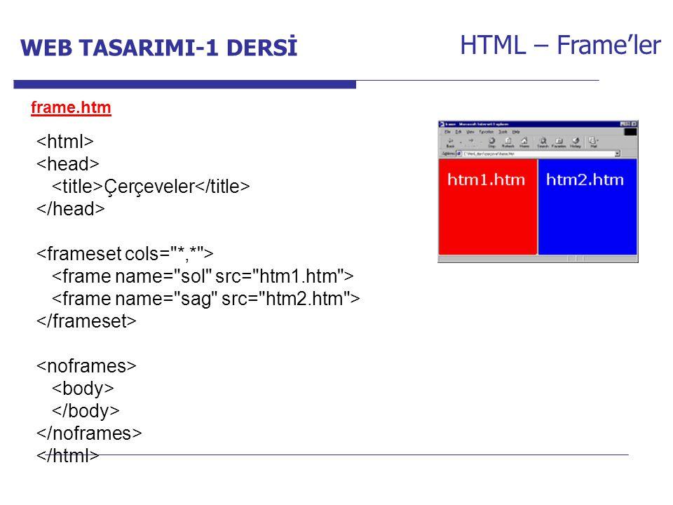 Internet Programcılığı -1 Dersi HTML – Frame'ler frame.htm Çerçeveler WEB TASARIMI-1 DERSİ