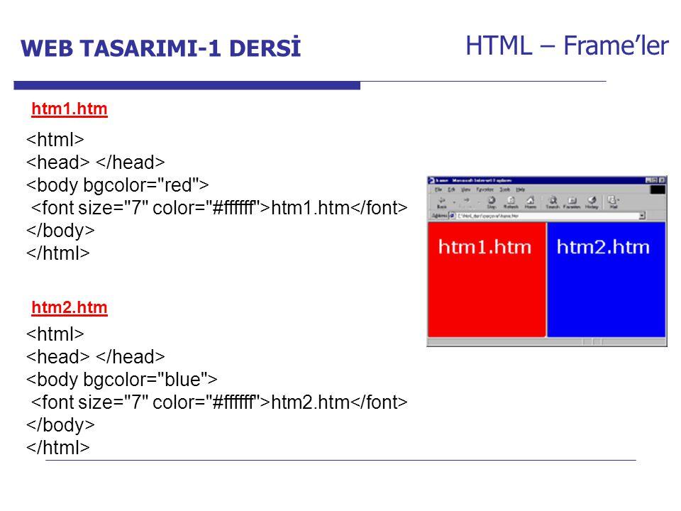 Internet Programcılığı -1 Dersi HTML – Frame'ler htm1.htm htm2.htm htm1.htm htm2.htm WEB TASARIMI-1 DERSİ