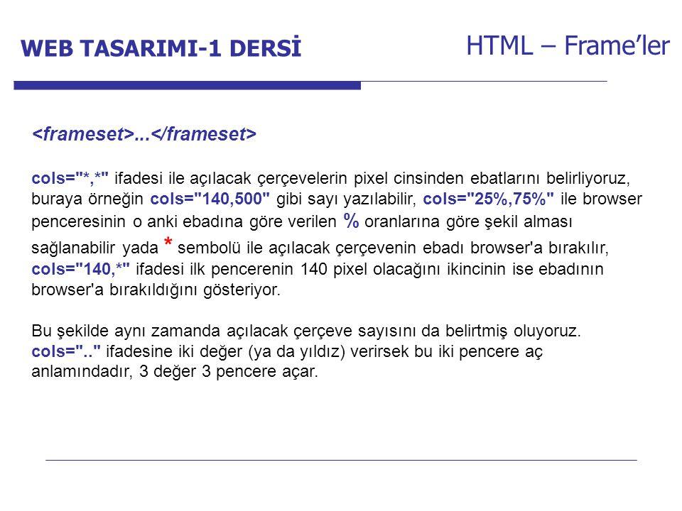 Internet Programcılığı -1 Dersi HTML – Frame'ler...