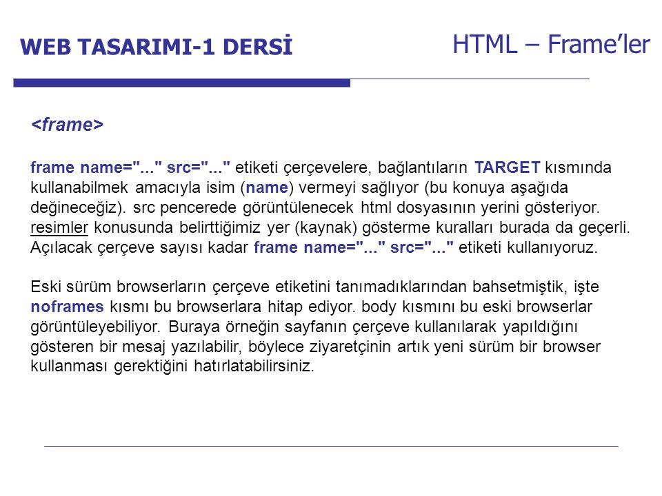 Internet Programcılığı -1 Dersi HTML – Frame'ler frame name= ... src= ... etiketi çerçevelere, bağlantıların TARGET kısmında kullanabilmek amacıyla isim (name) vermeyi sağlıyor (bu konuya aşağıda değineceğiz).