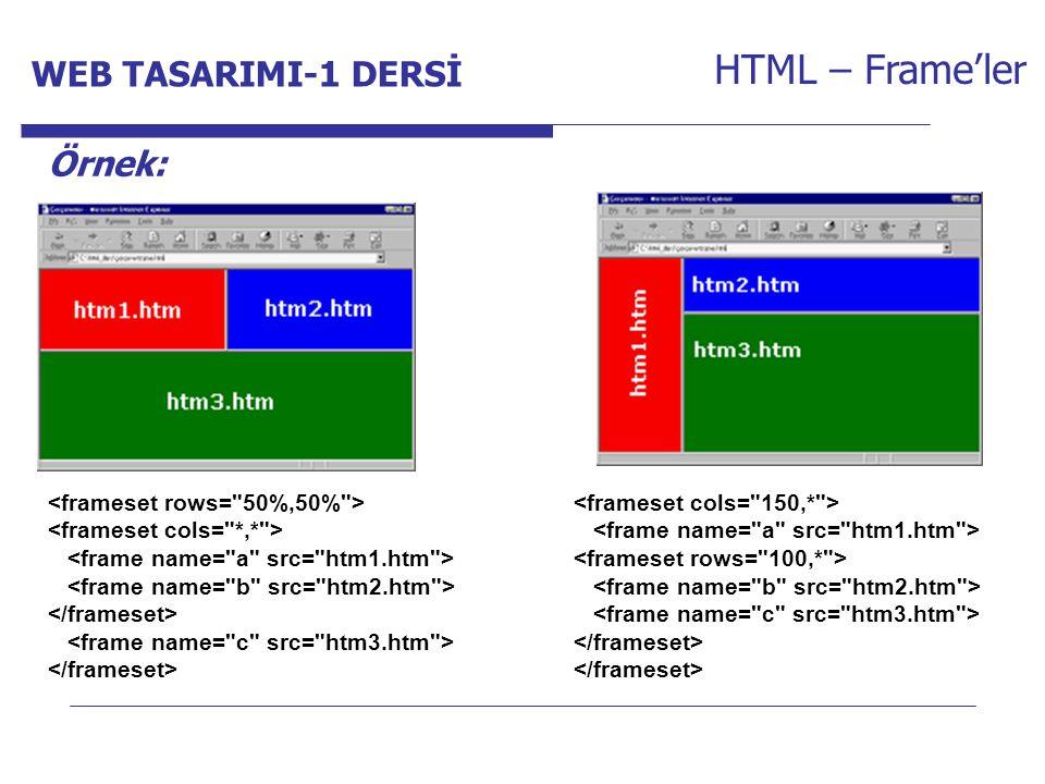 Internet Programcılığı -1 Dersi HTML – Frame'ler Örnek: WEB TASARIMI-1 DERSİ