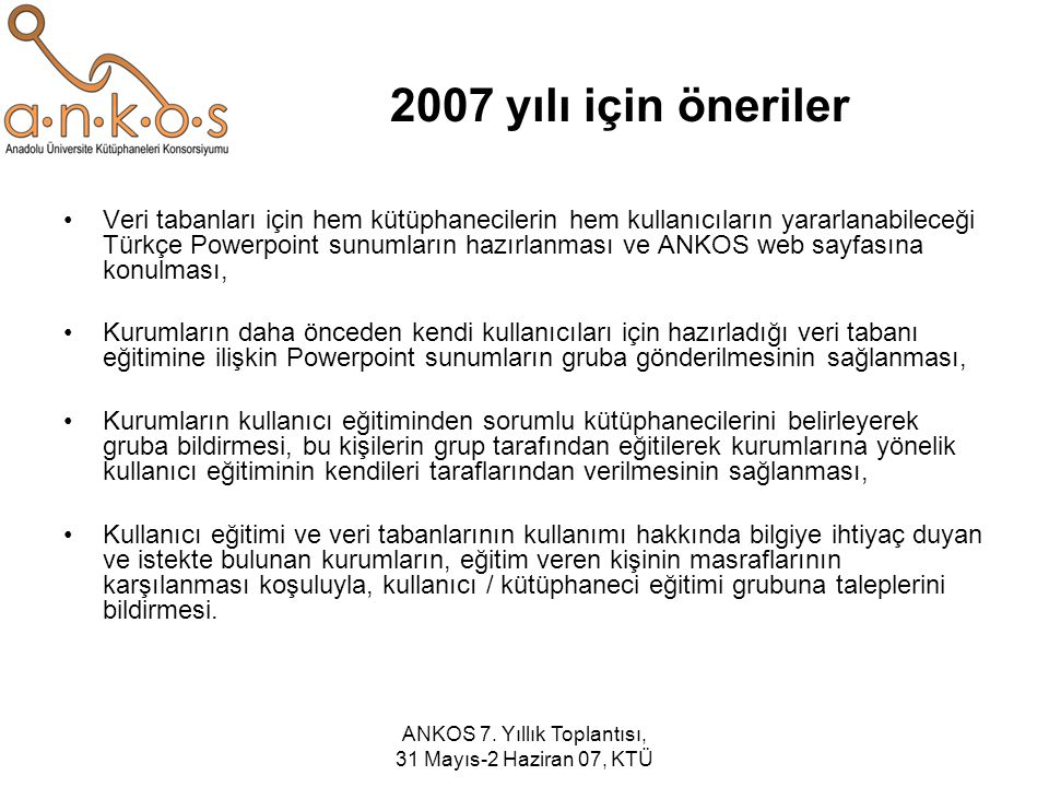 ANKOS 7. Yıllık Toplantısı, 31 Mayıs-2 Haziran 07, KTÜ 2007 yılı için öneriler Veri tabanları için hem kütüphanecilerin hem kullanıcıların yararlanabi