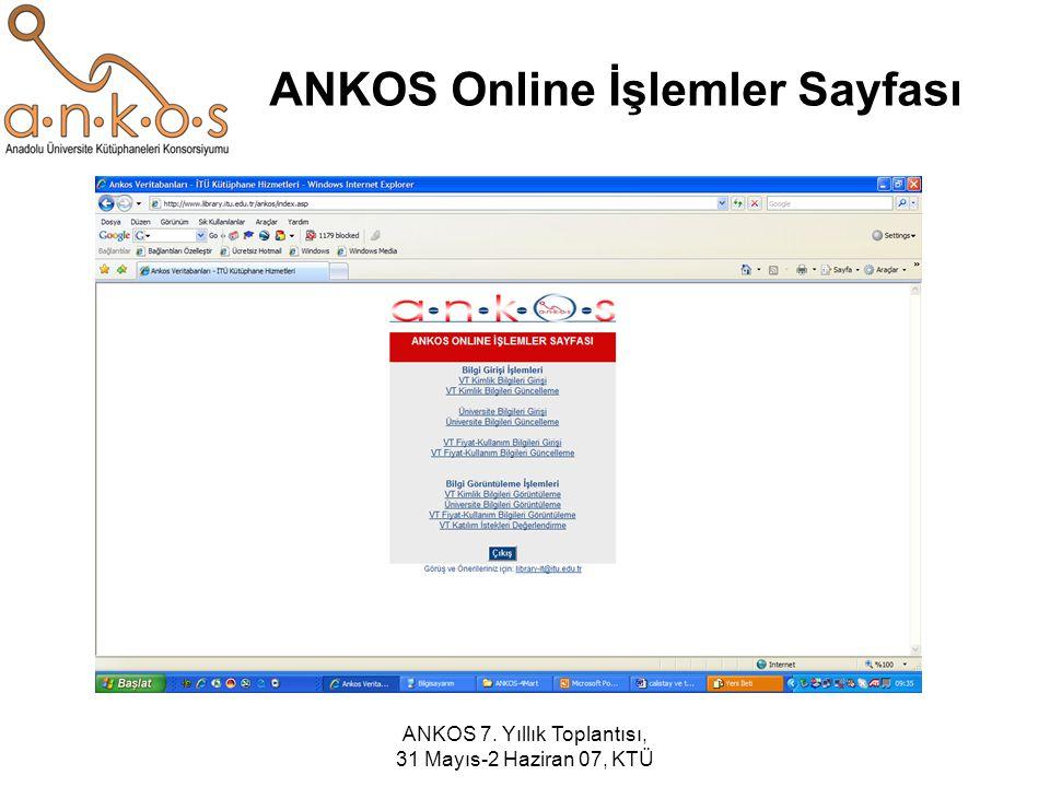 ANKOS 7. Yıllık Toplantısı, 31 Mayıs-2 Haziran 07, KTÜ ANKOS Online İşlemler Sayfası