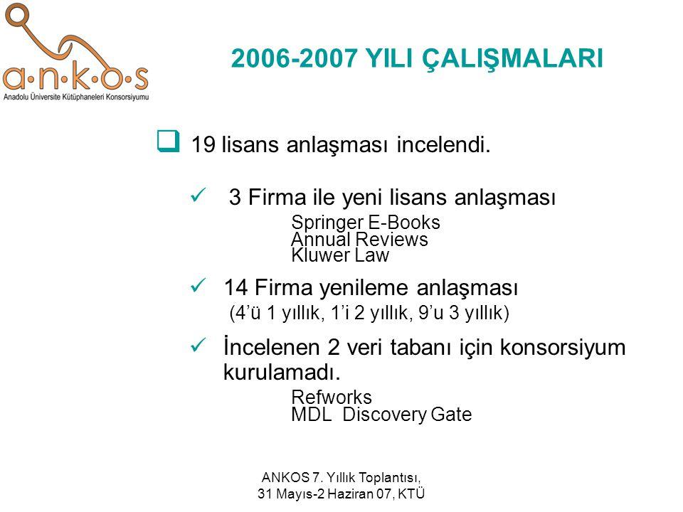ANKOS 7. Yıllık Toplantısı, 31 Mayıs-2 Haziran 07, KTÜ 2006-2007 YILI ÇALIŞMALARI  19 lisans anlaşması incelendi. 3 Firma ile yeni lisans anlaşması S