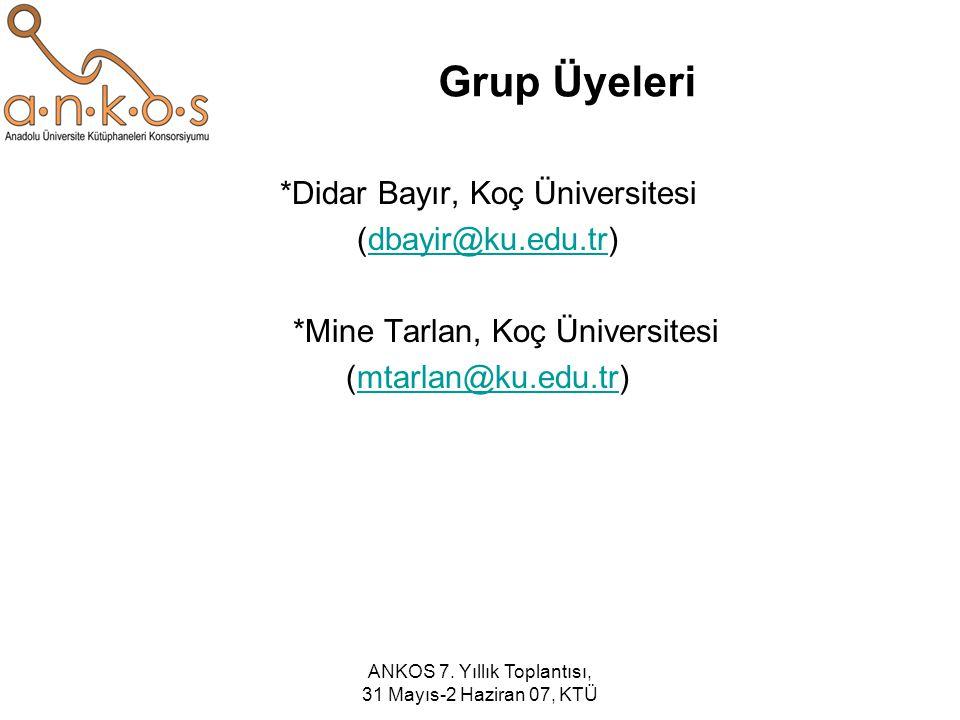 ANKOS 7. Yıllık Toplantısı, 31 Mayıs-2 Haziran 07, KTÜ Grup Üyeleri *Didar Bayır, Koç Üniversitesi (dbayir@ku.edu.tr)dbayir@ku.edu.tr *Mine Tarlan, Ko