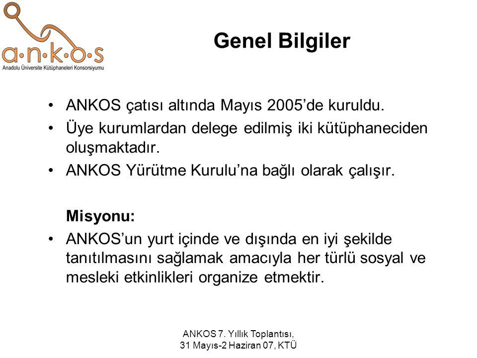 ANKOS 7. Yıllık Toplantısı, 31 Mayıs-2 Haziran 07, KTÜ Genel Bilgiler ANKOS çatısı altında Mayıs 2005'de kuruldu. Üye kurumlardan delege edilmiş iki k