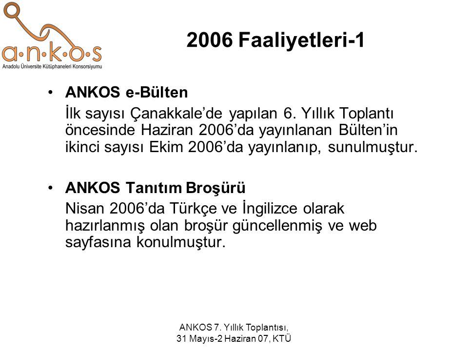 ANKOS 7. Yıllık Toplantısı, 31 Mayıs-2 Haziran 07, KTÜ 2006 Faaliyetleri-1 ANKOS e-Bülten İlk sayısı Çanakkale'de yapılan 6. Yıllık Toplantı öncesinde
