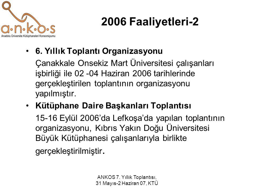 ANKOS 7. Yıllık Toplantısı, 31 Mayıs-2 Haziran 07, KTÜ 2006 Faaliyetleri-2 6. Yıllık Toplantı Organizasyonu Çanakkale Onsekiz Mart Üniversitesi çalışa