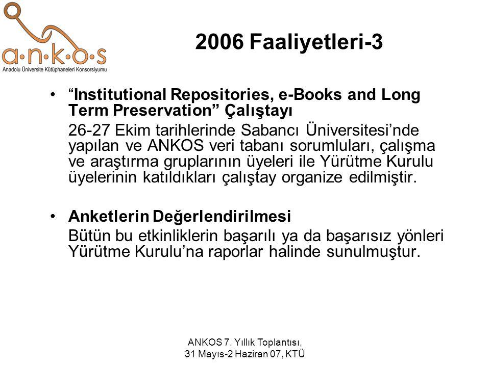 """ANKOS 7. Yıllık Toplantısı, 31 Mayıs-2 Haziran 07, KTÜ 2006 Faaliyetleri-3 """"Institutional Repositories, e-Books and Long Term Preservation"""" Çalıştayı"""