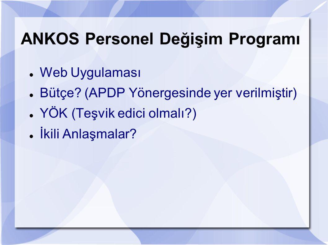 ANKOS Personel Değişim Programı Web Uygulaması Bütçe? (APDP Yönergesinde yer verilmiştir) YÖK (Teşvik edici olmalı?) İkili Anlaşmalar?