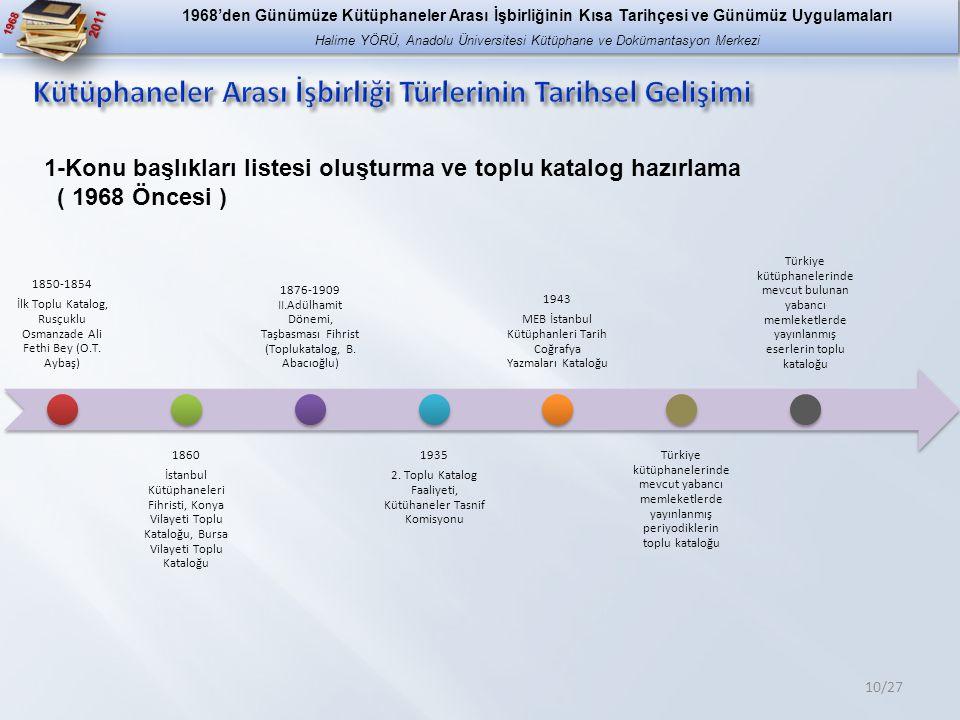 1968 2011 10/27 1-Konu başlıkları listesi oluşturma ve toplu katalog hazırlama ( 1968 Öncesi ) 1850-1854 İlk Toplu Katalog, Rusçuklu Osmanzade Ali Fethi Bey (O.T.