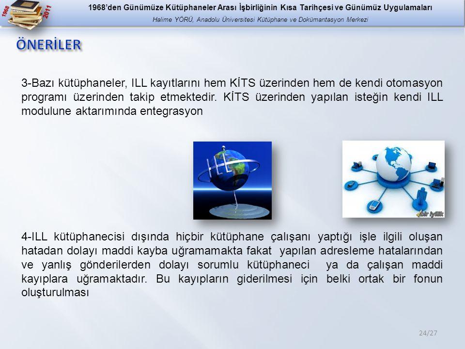 1968 2011 24/27 3-Bazı kütüphaneler, ILL kayıtlarını hem KİTS üzerinden hem de kendi otomasyon programı üzerinden takip etmektedir.