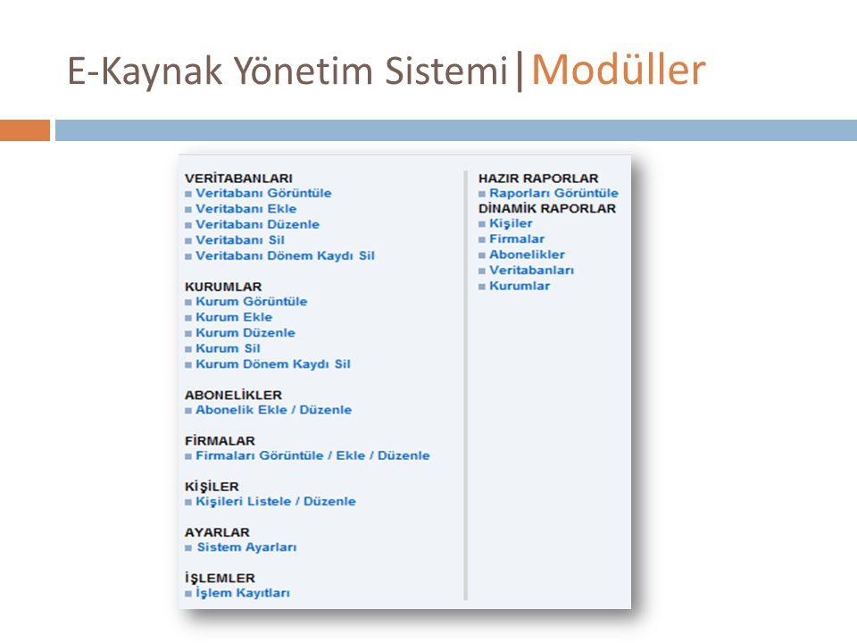 E-Kaynak Yönetim Sistemi |Modüller