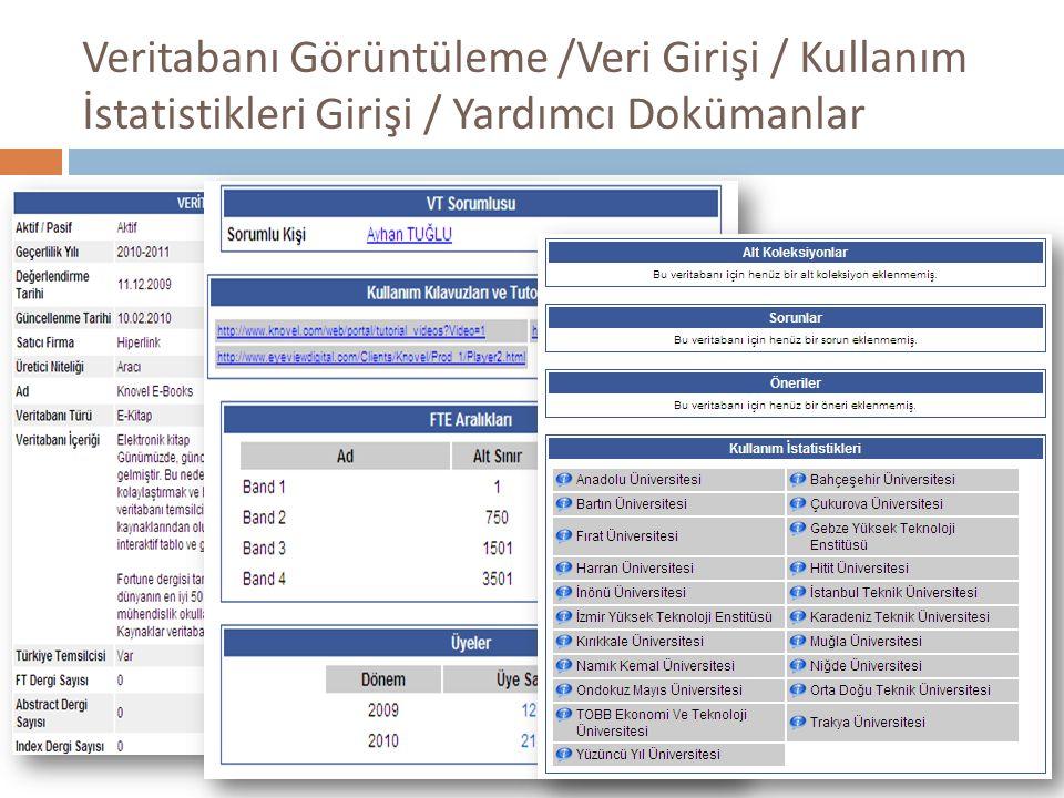 Veritabanı Görüntüleme /Veri Girişi / Kullanım İstatistikleri Girişi / Yardımcı Dokümanlar