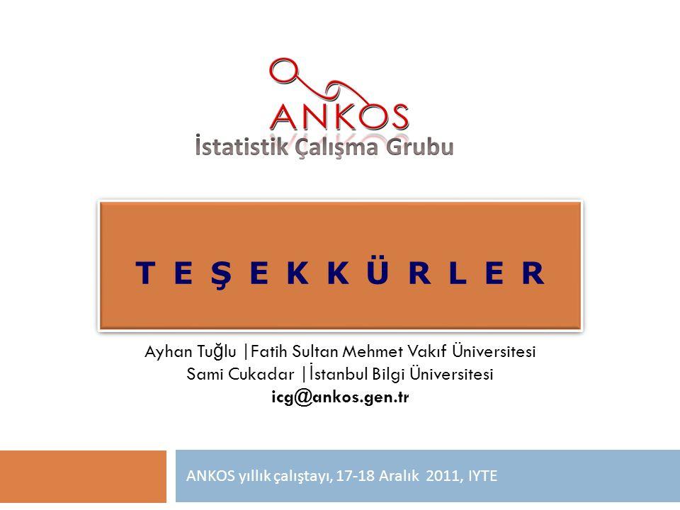 T E Ş E K K Ü R L E R ANKOS yıllık çalıştayı, 17-18 Aralık 2011, IYTE Ayhan Tu ğ lu |Fatih Sultan Mehmet Vakıf Üniversitesi Sami Cukadar | İ stanbul B