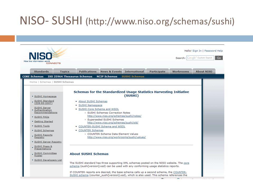 NISO- SUSHI (http://www.niso.org/schemas/sushi)