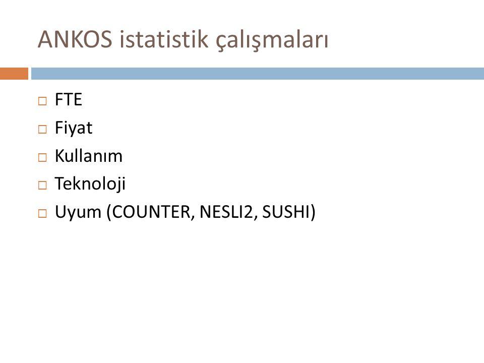 ANKOS istatistik çalışmaları  FTE  Fiyat  Kullanım  Teknoloji  Uyum (COUNTER, NESLI2, SUSHI)