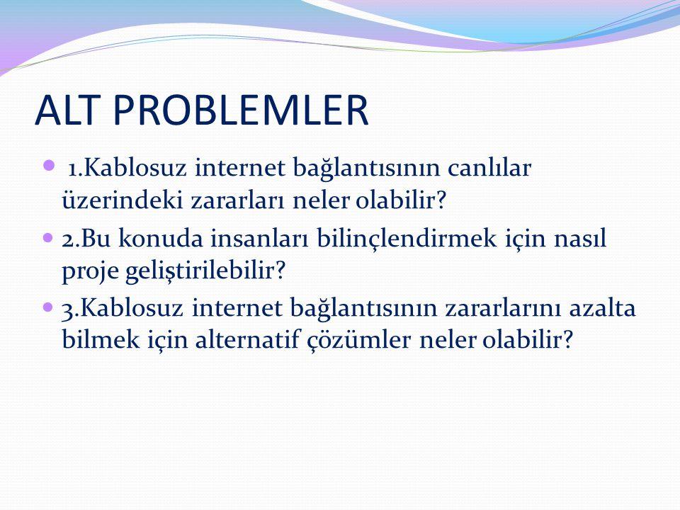 ALT PROBLEMLER 1.Kablosuz internet bağlantısının canlılar üzerindeki zararları neler olabilir.