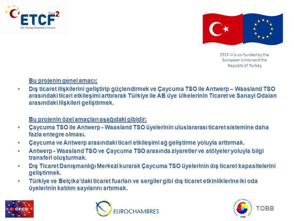 Bu projenin genel amacı; Dış ticaret ilişkilerini geliştirip güçlendirmek ve Çaycuma TSO ile Antwerp – Waasland TSO arasındaki ticari etkileşimi arttırarak Türkiye ile AB üye ülkelerinin Ticaret ve Sanayi Odaları arasındaki ilişkileri geliştirmek.Dış ticaret ilişkilerini geliştirip güçlendirmek ve Çaycuma TSO ile Antwerp – Waasland TSO arasındaki ticari etkileşimi arttırarak Türkiye ile AB üye ülkelerinin Ticaret ve Sanayi Odaları arasındaki ilişkileri geliştirmek.