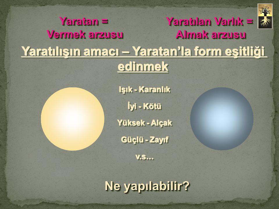 Yaratılan Varlık = Almak arzusu Yaratılan Varlık = Almak arzusu Yaratan = Vermek arzusu Yaratan = Vermek arzusu Işık - Karanlık İyi - Kötü Yüksek - Alçak Güçlü - Zayıf v.s… Işık - Karanlık İyi - Kötü Yüksek - Alçak Güçlü - Zayıf v.s… Yaratılışın amacı – Yaratan'la form eşitliği edinmek Ne yapılabilir?