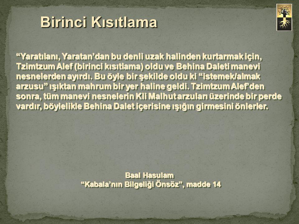 """""""Yaratılanı, Yaratan'dan bu denli uzak halinden kurtarmak için, Tzimtzum Alef (birinci kısıtlama) oldu ve Behina Daleti manevi nesnelerden ayırdı. Bu"""