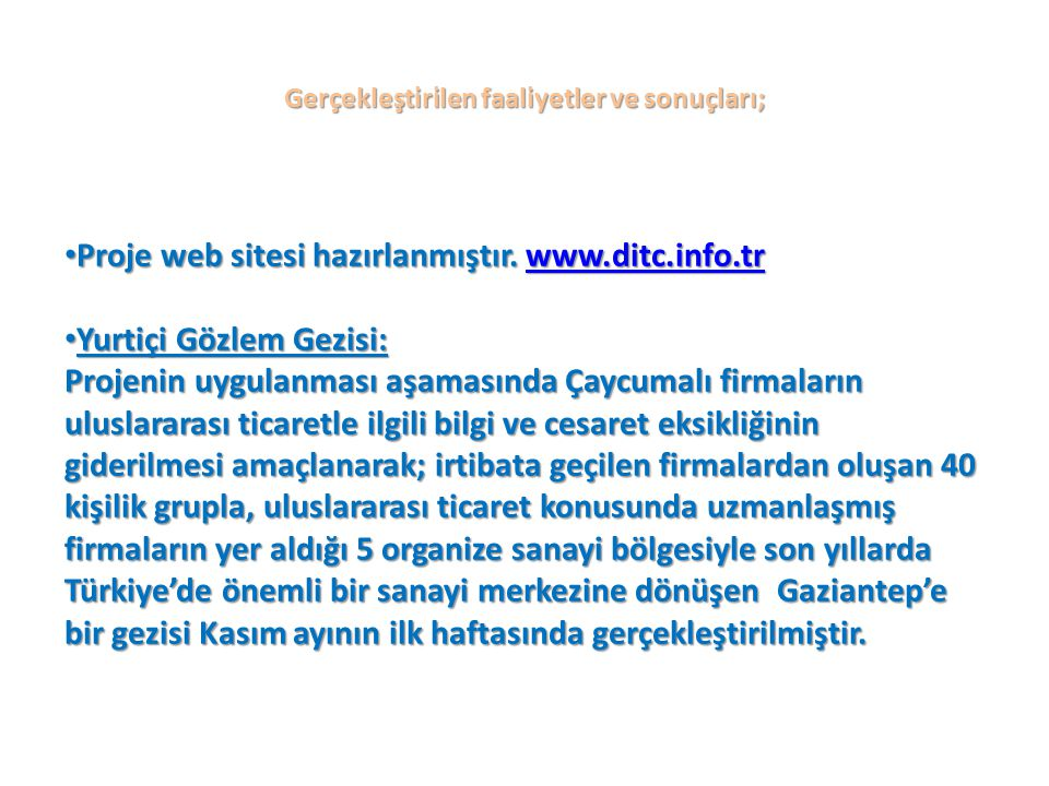 Gerçekleştirilen faaliyetler ve sonuçları; Proje web sitesi hazırlanmıştır.
