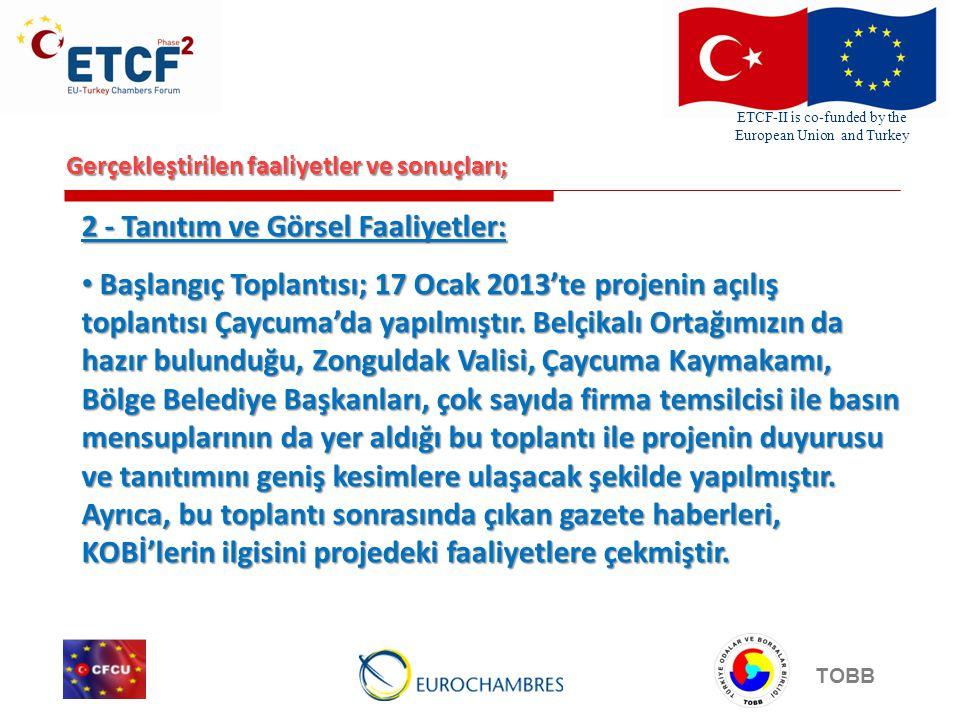 ETCF-II is co-funded by the European Union and Turkey TOBB Gerçekleştirilen faaliyetler ve sonuçları; Pankart ve afiş çalışmaları yapılmıştır.