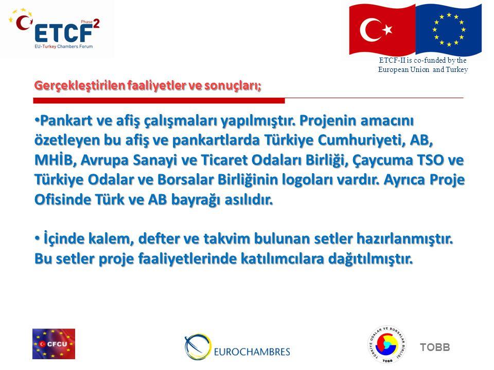 ETCF-II is co-funded by the European Union and Turkey TOBB Gerçekleştirilen faaliyetler ve sonuçları; Çok sayıda bastırılan Türkçe ve İngilizce broşürler Çaycuma'daki ve Antwerp'deki KOBİ'lere dağıtılmıştır.
