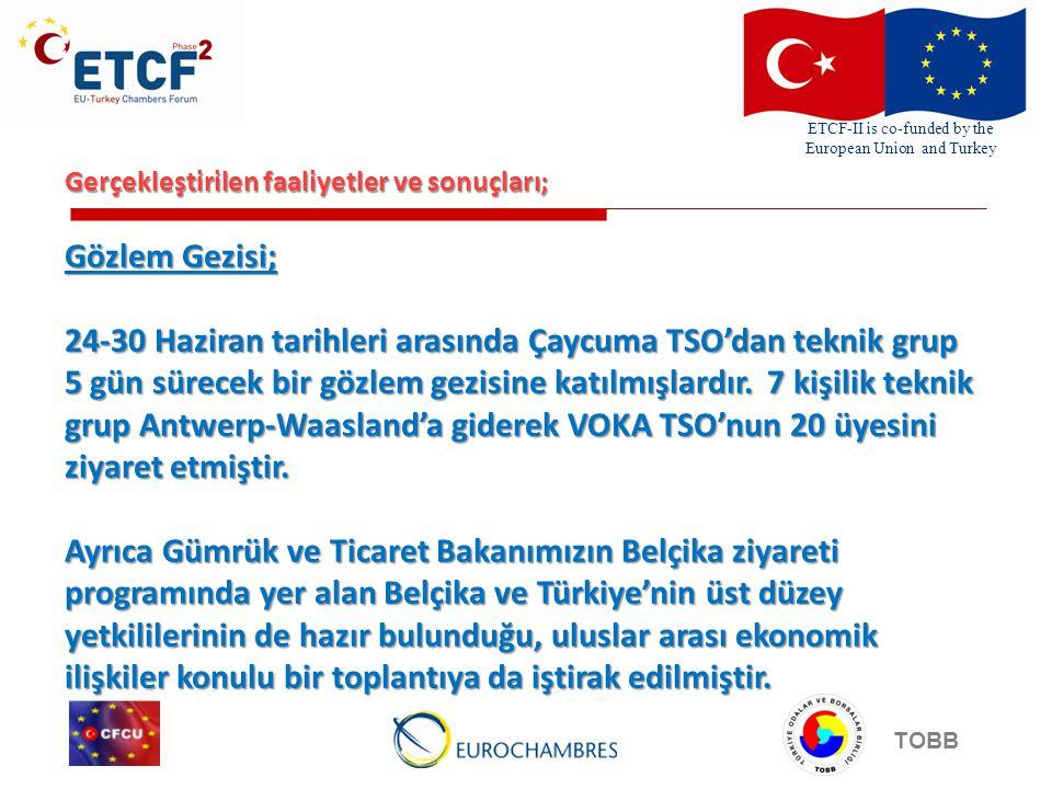 ETCF-II is co-funded by the European Union and Turkey TOBB Gerçekleştirilen faaliyetler ve sonuçları; Gözlem Gezisi; 24-30 Haziran tarihleri arasında