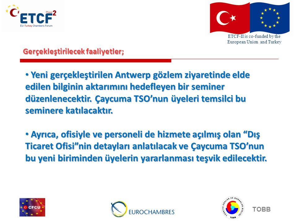 ETCF-II is co-funded by the European Union and Turkey TOBB Gerçekleştirilecek faaliyetler; Yeni gerçekleştirilen Antwerp gözlem ziyaretinde elde edilen bilginin aktarımını hedefleyen bir seminer düzenlenecektir.