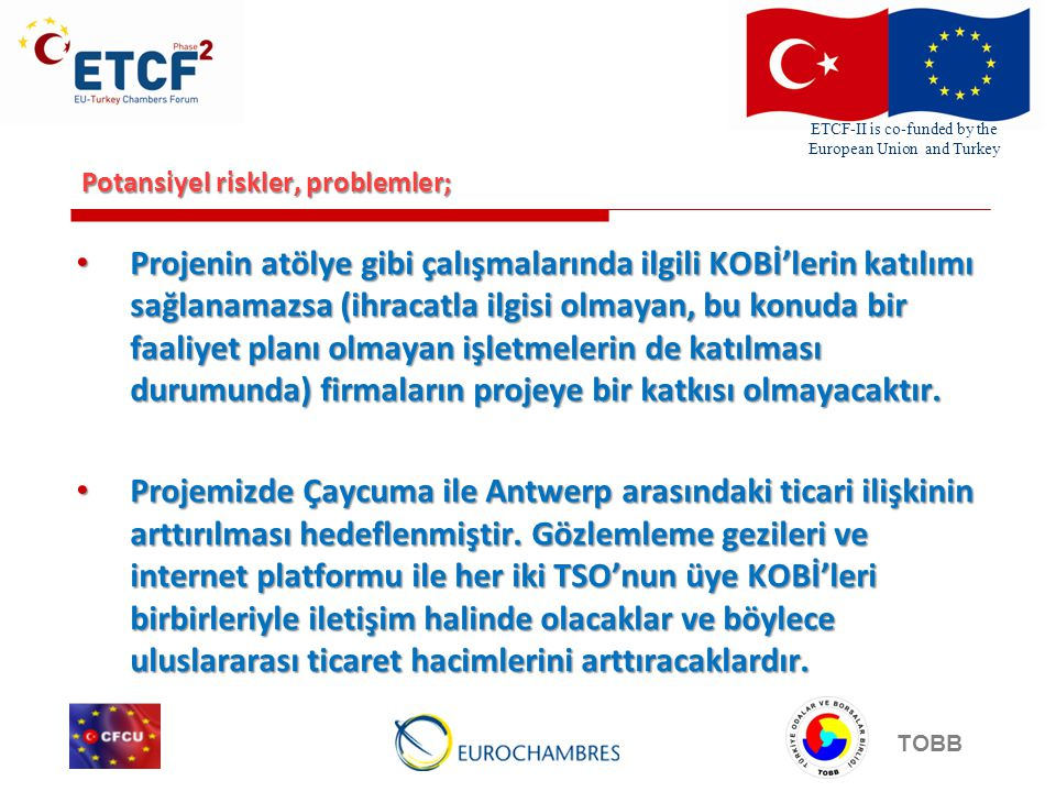 ETCF-II is co-funded by the European Union and Turkey TOBB Potansiyel riskler, problemler; Projenin atölye gibi çalışmalarında ilgili KOBİ'lerin katıl