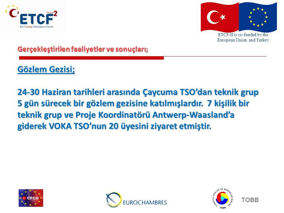 ETCF-II is co-funded by the European Union and Turkey TOBB Gerçekleştirilen faaliyetler ve sonuçları; Gözlem Gezisi; 24-30 Haziran tarihleri arasında Çaycuma TSO'dan teknik grup 5 gün sürecek bir gözlem gezisine katılmışlardır.