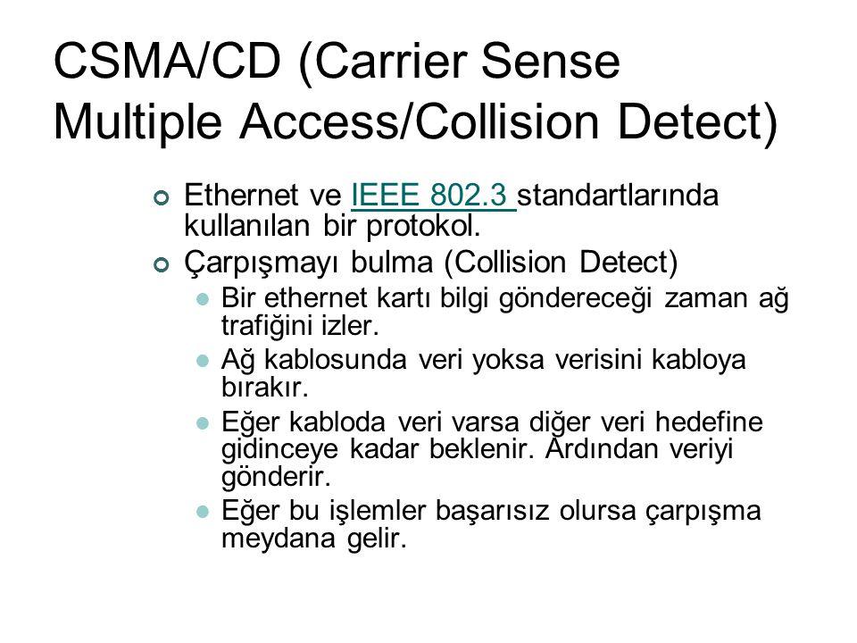 CSMA/CD (Carrier Sense Multiple Access/Collision Detect) Ethernet ve IEEE 802.3 standartlarında kullanılan bir protokol.IEEE 802.3 Çarpışmayı bulma (C