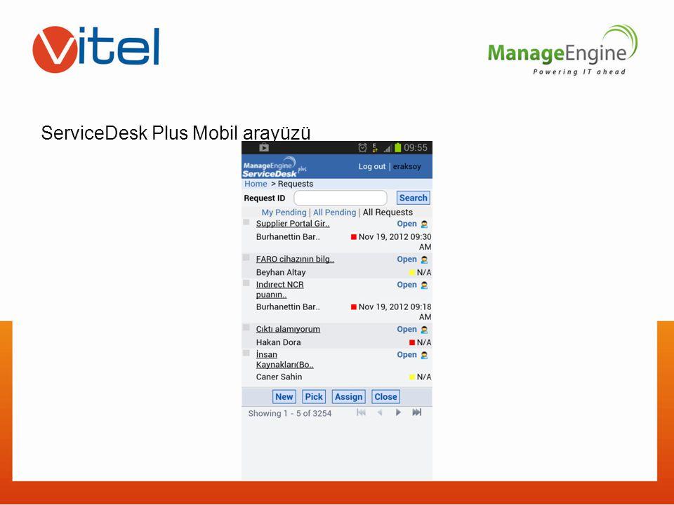 ServiceDesk Plus Mobil arayüzü