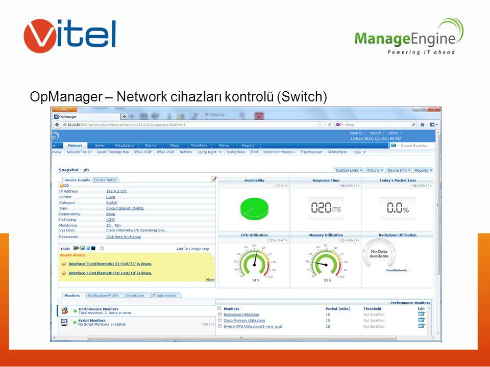 OpManager – Network cihazları kontrolü (Switch)