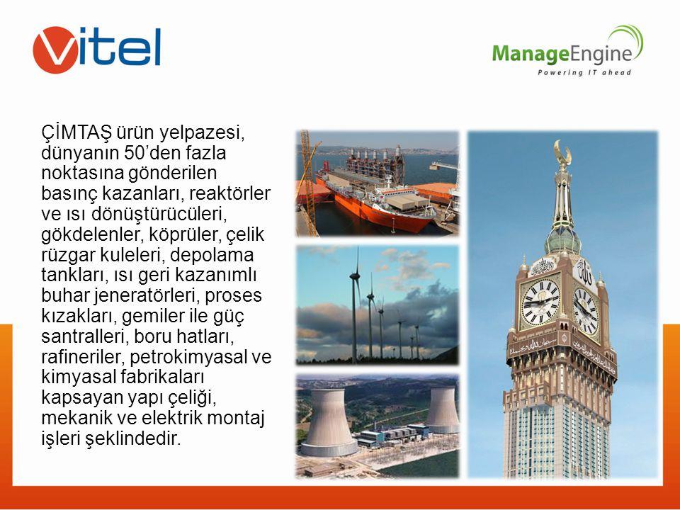 ÇİMTAŞ ürün yelpazesi, dünyanın 50'den fazla noktasına gönderilen basınç kazanları, reaktörler ve ısı dönüştürücüleri, gökdelenler, köprüler, çelik rü