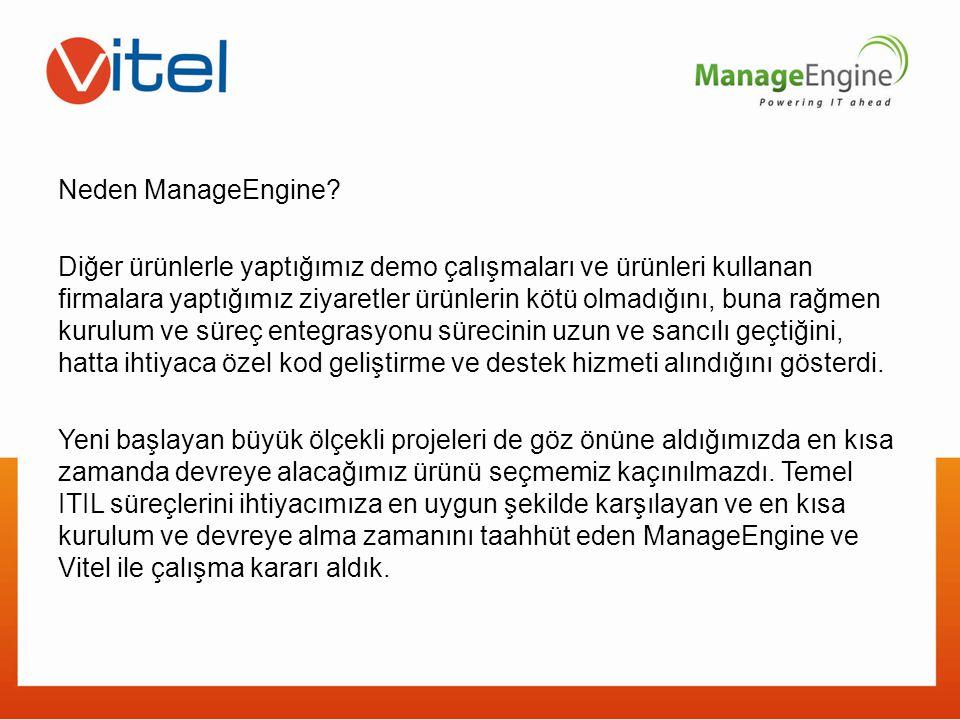 Neden ManageEngine? Diğer ürünlerle yaptığımız demo çalışmaları ve ürünleri kullanan firmalara yaptığımız ziyaretler ürünlerin kötü olmadığını, buna r