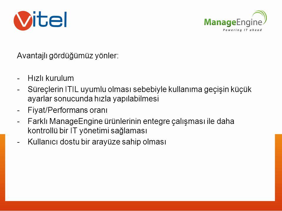 Avantajlı gördüğümüz yönler: -Hızlı kurulum -Süreçlerin ITIL uyumlu olması sebebiyle kullanıma geçişin küçük ayarlar sonucunda hızla yapılabilmesi -Fi