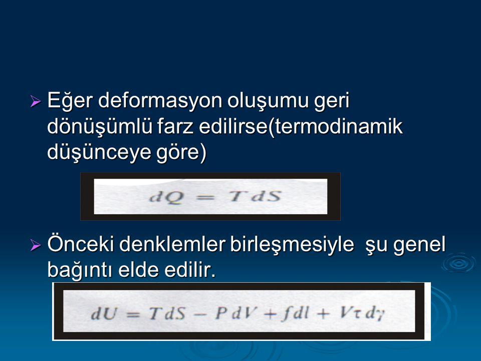  Eğer deformasyon oluşumu geri dönüşümlü farz edilirse(termodinamik düşünceye göre)  Önceki denklemler birleşmesiyle şu genel bağıntı elde edilir.