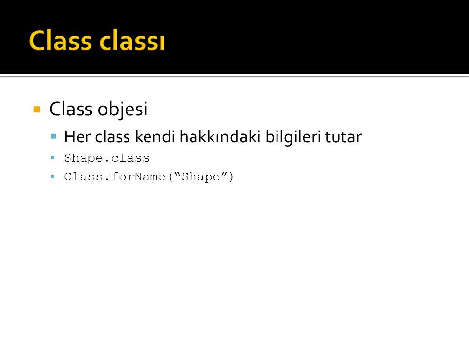  Class objesi  Her class kendi hakkındaki bilgileri tutar  Shape.class  Class.forName( Shape )