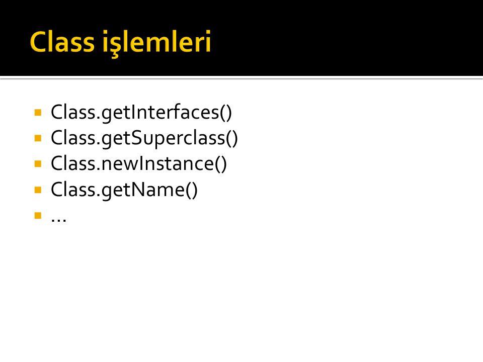  Class.getInterfaces()  Class.getSuperclass()  Class.newInstance()  Class.getName()  …