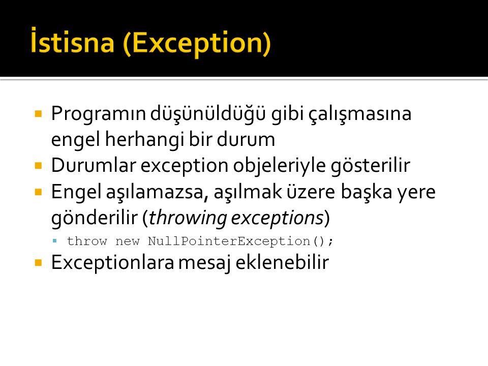  Programın düşünüldüğü gibi çalışmasına engel herhangi bir durum  Durumlar exception objeleriyle gösterilir  Engel aşılamazsa, aşılmak üzere başka yere gönderilir (throwing exceptions)  throw new NullPointerException();  Exceptionlara mesaj eklenebilir