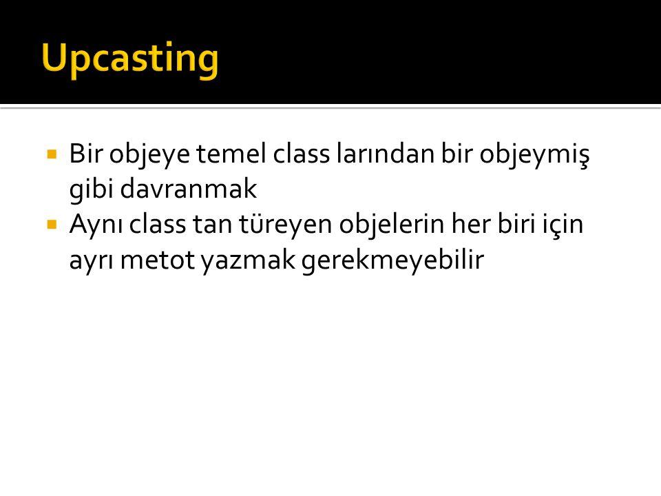  Bir objeye temel class larından bir objeymiş gibi davranmak  Aynı class tan türeyen objelerin her biri için ayrı metot yazmak gerekmeyebilir